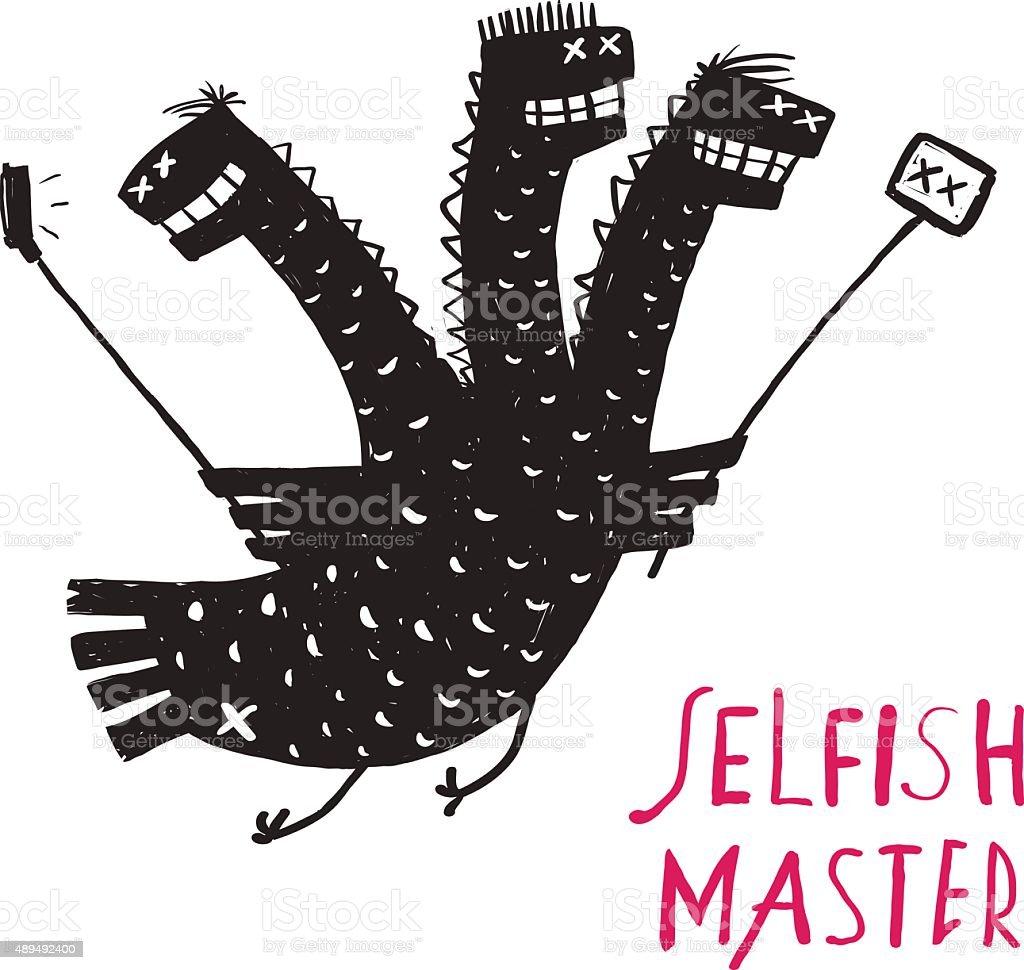 Funny Selfish Dragon Taking Selfie Stick Photo Rough Hand Drawn vector art illustration