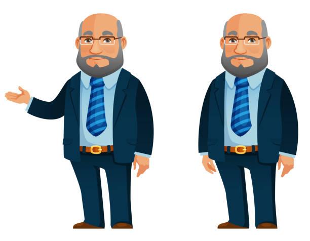 funny senior man in blue businessman suit - old man glasses cartoon stock illustrations, clip art, cartoons, & icons