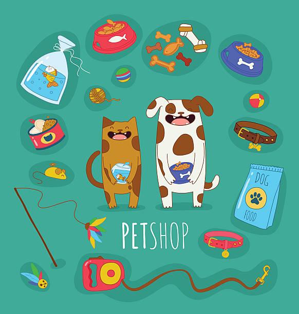 面白いのセット犬や猫 - ペットショップ点のイラスト素材/クリップアート素材/マンガ素材/アイコン素材