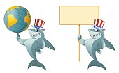 Funny shark in the patriotic hat holding a globe and a blank banner. Cartoon styled vector illustration. Elements is grouped.  No transparent objects. Isolated on white.