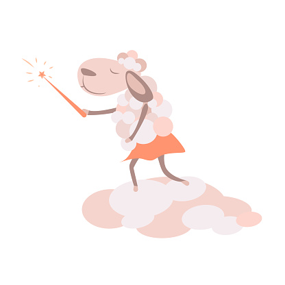 funny sheep in skirt with magic wand on the cloud flat style illustration for children