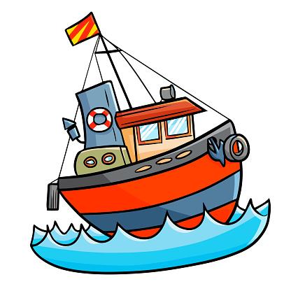 재미 있은 배를 바다에 항해 공연에 대한 스톡 벡터 아트 및 기타 이미지
