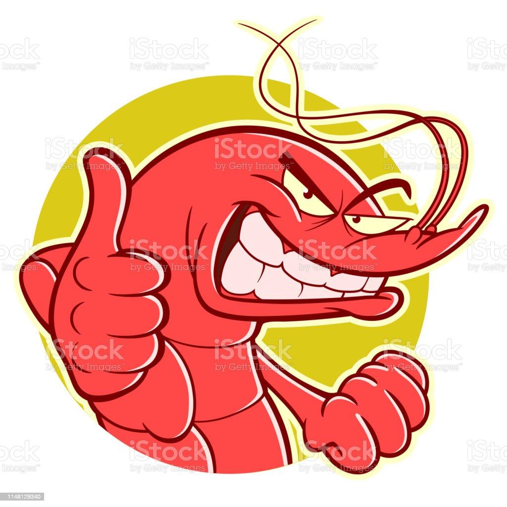 Funny Shrimp Makes Thumb Up Stock Illustration - Download