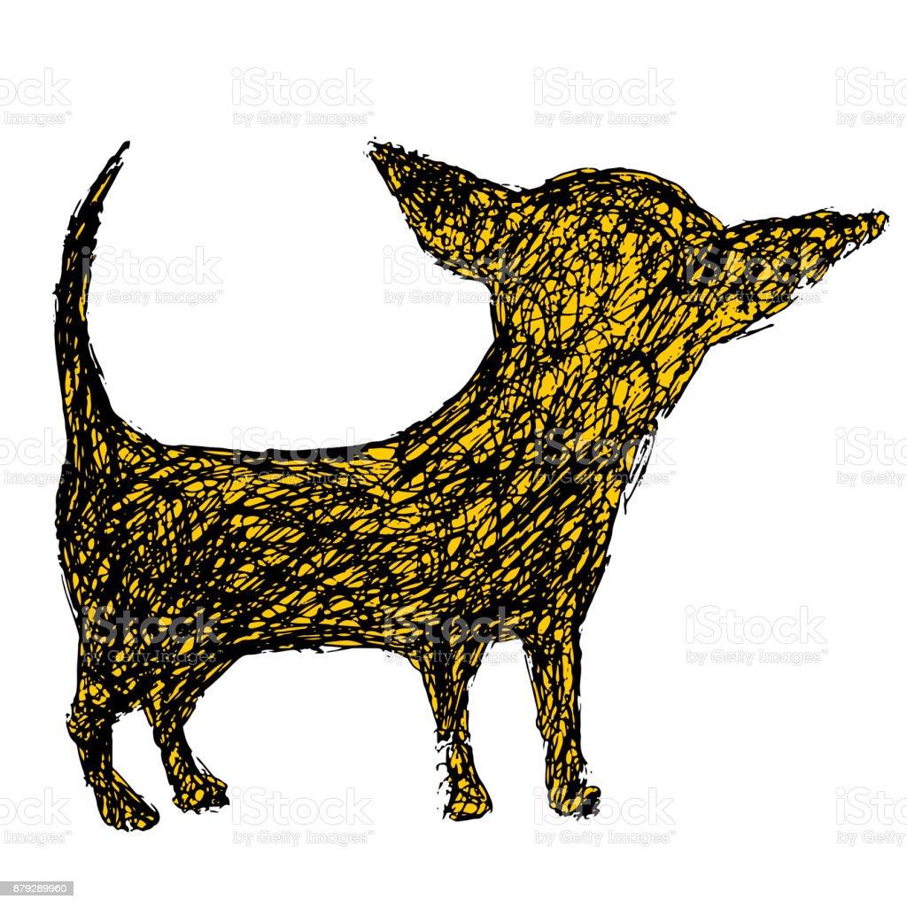 Ilustración De Silueta Graciosa De Un Perro Chihuahua Estilo Doodle