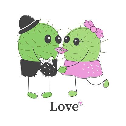Funny simple naive cute cactus kissing pair