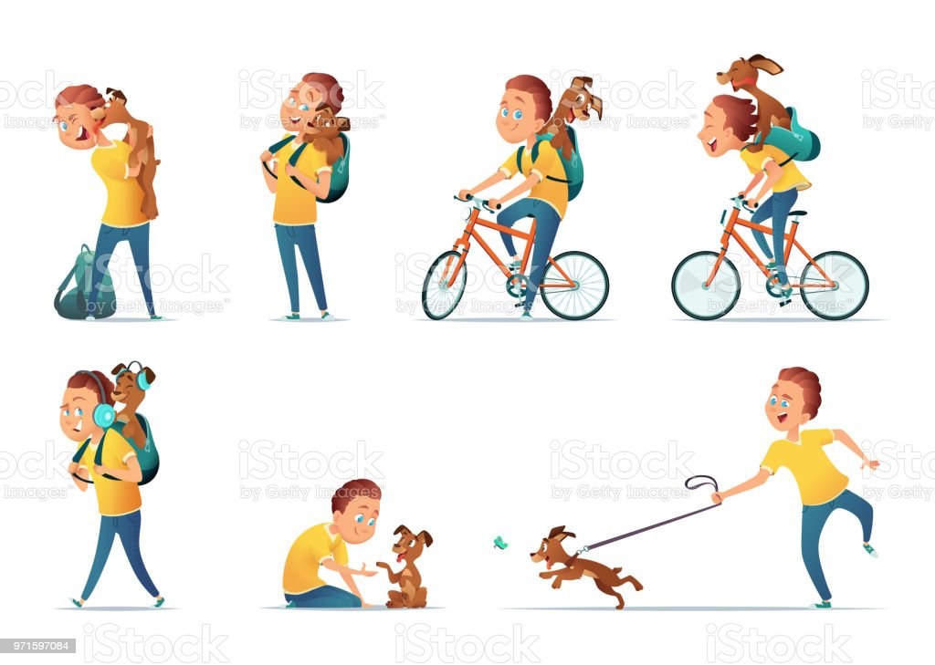 funny situations of a boy and a dog kid and puppy in different
