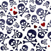 Funny skulls in love - red and black pattern.