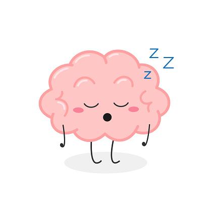 Funny sleeping cartoon brain character