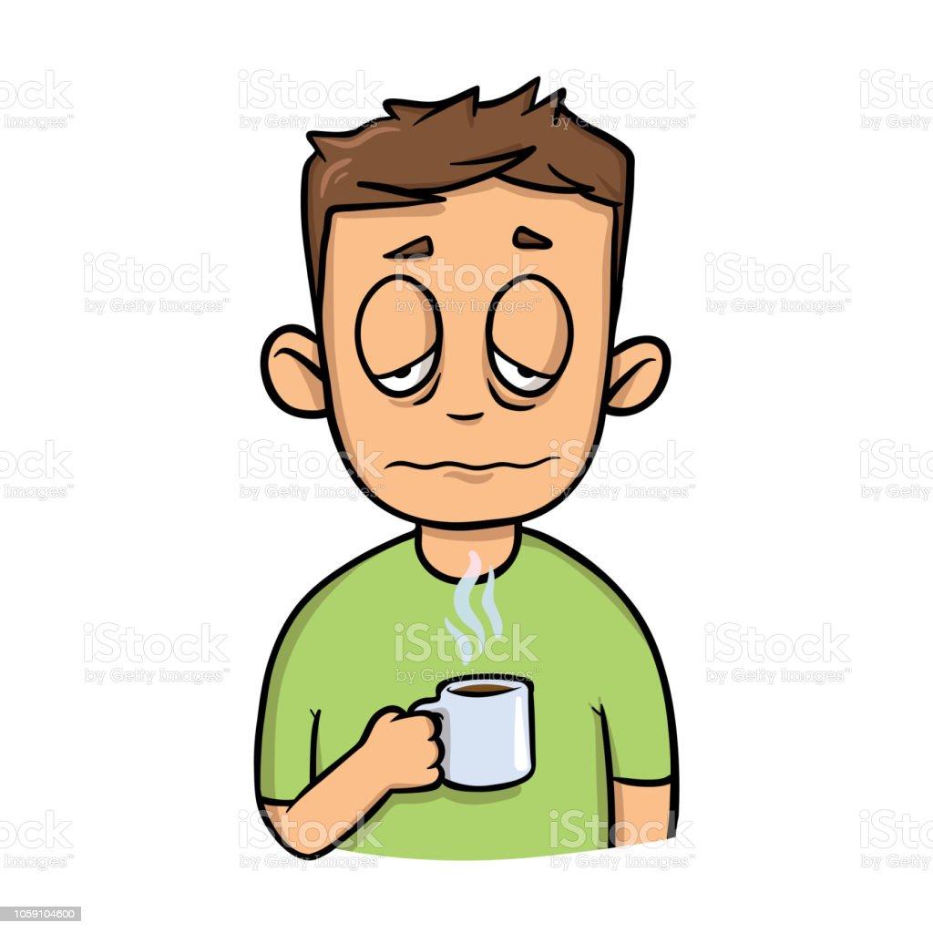 朝のコーヒー カップと変な眠そうな男漫画のデザインのアイコンです