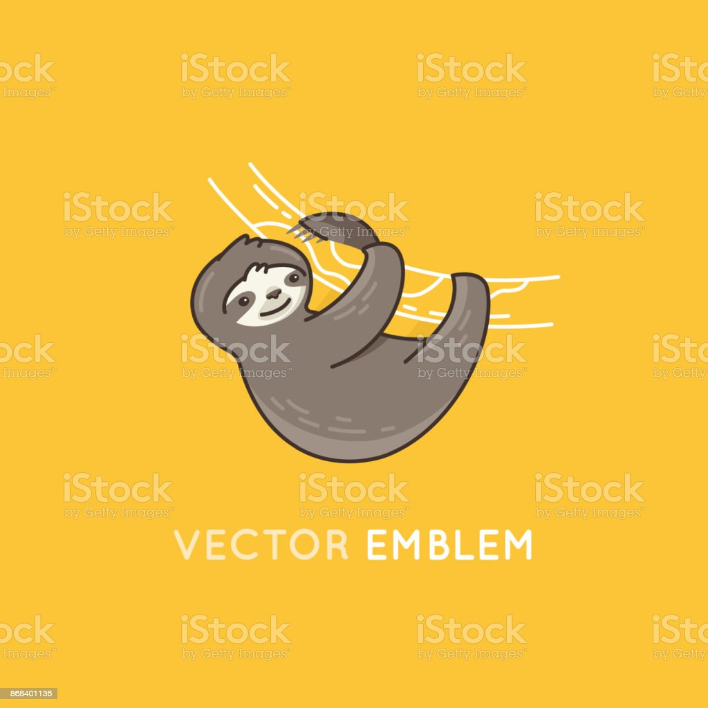 Funny sloth character smiling and hanging on a tree branch vector art illustration