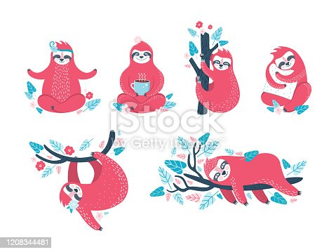 Funny sloths in different poses. Set of lazy exotic animals that sleep, doze, rest on a branch of a tropical tree, meditate and drink coffee. Cute cartoon character in different movements. Hand drawn