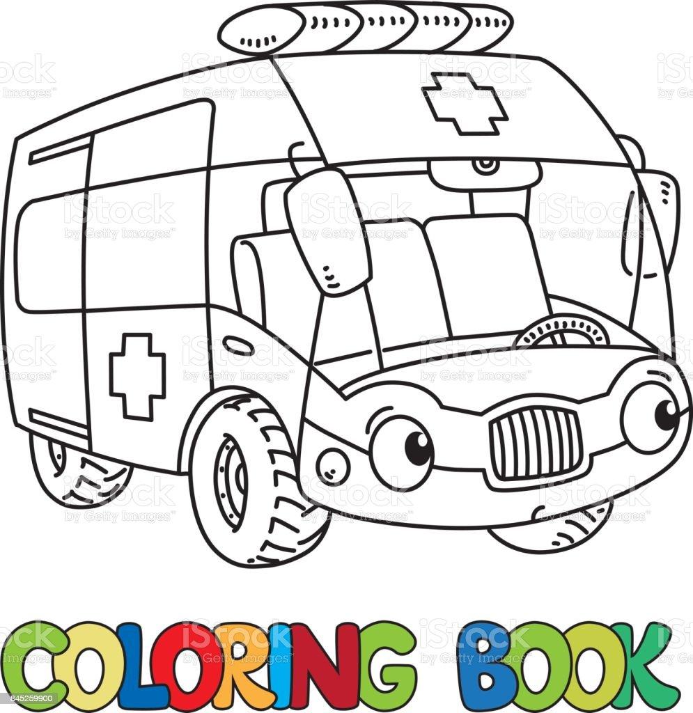 Komik Kucuk Ambulans Araba Gozleri Olan Boyama Kitabi Stok Vektor