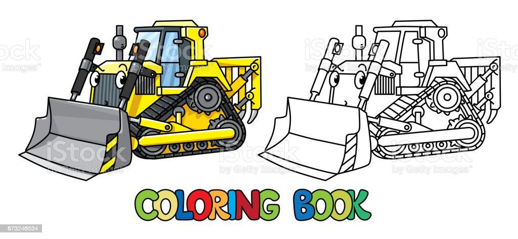 Ilustración de Divertido Bulldozer Pequeño Con Los Ojos Libro Para ...