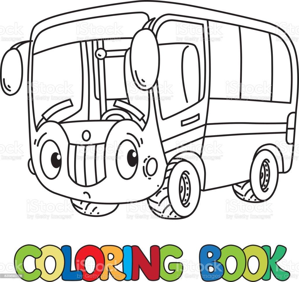 Komik Küçük Otobüs Gözleri Olan Boyama Kitabı Stok Vektör Sanatı