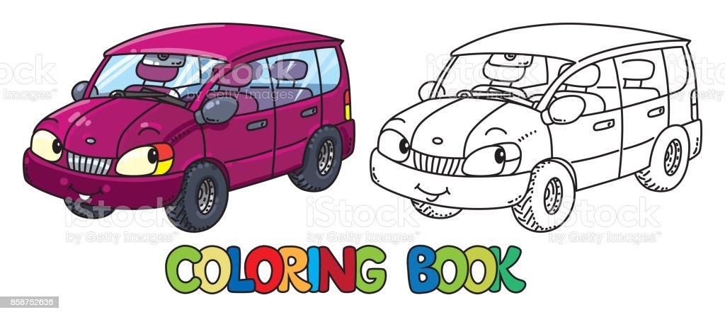 Drole Petite Voiture Avec Les Yeux Livre De Coloriage Vecteurs
