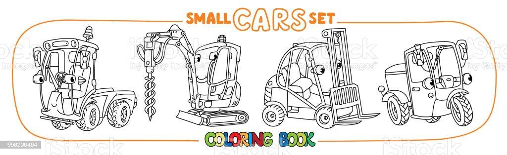 Komik Kucuk Arabalar Gozleri Olan Boyama Kitap Seti Stok Vektor