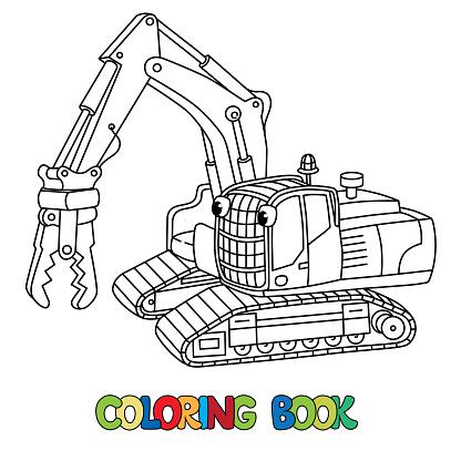 Komik Kucuk Ekskavator Gozleri Olan Boyama Kitabi Stok Vektor