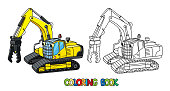 Funny small excavator with eyes. Coloring book
