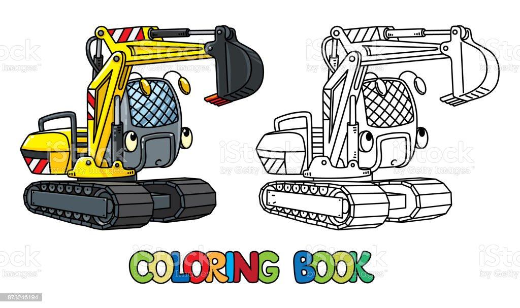 Ilustración de Divertida Pequeña Excavadora Con Los Ojos Libro Para ...
