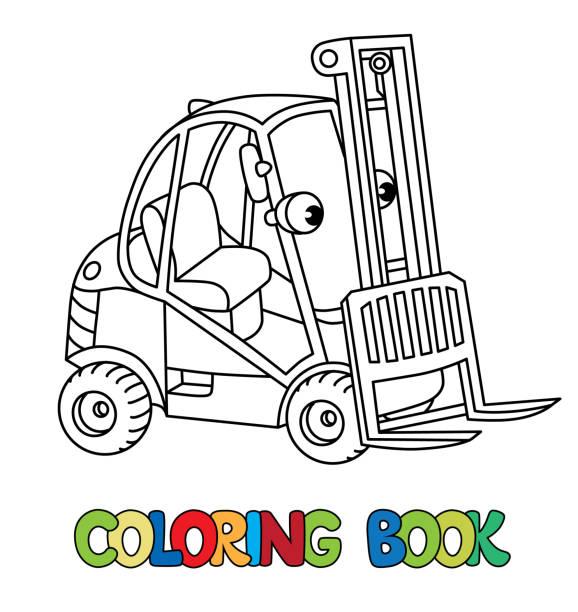 Coche carro o cargador de carretilla elevadora pequeña gracioso con ojos - ilustración de arte vectorial