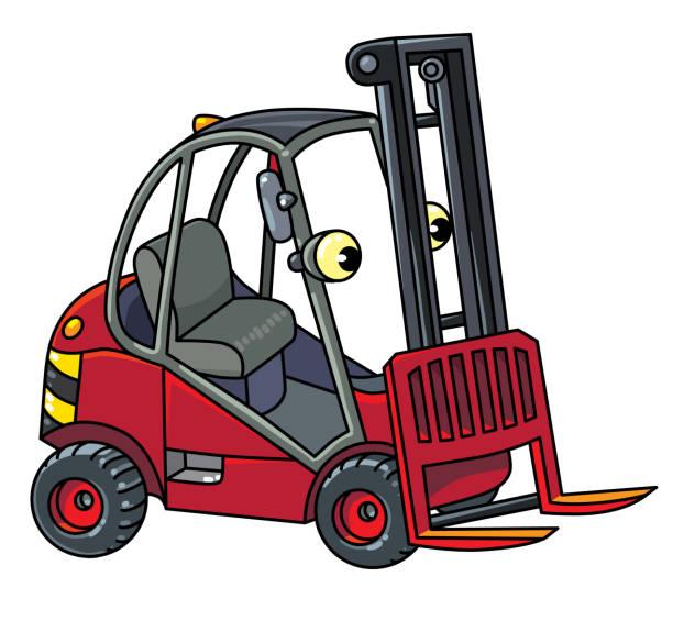 ilustraciones, imágenes clip art, dibujos animados e iconos de stock de coche carro o cargador de carretilla elevadora pequeña gracioso con ojos - suministros escolares