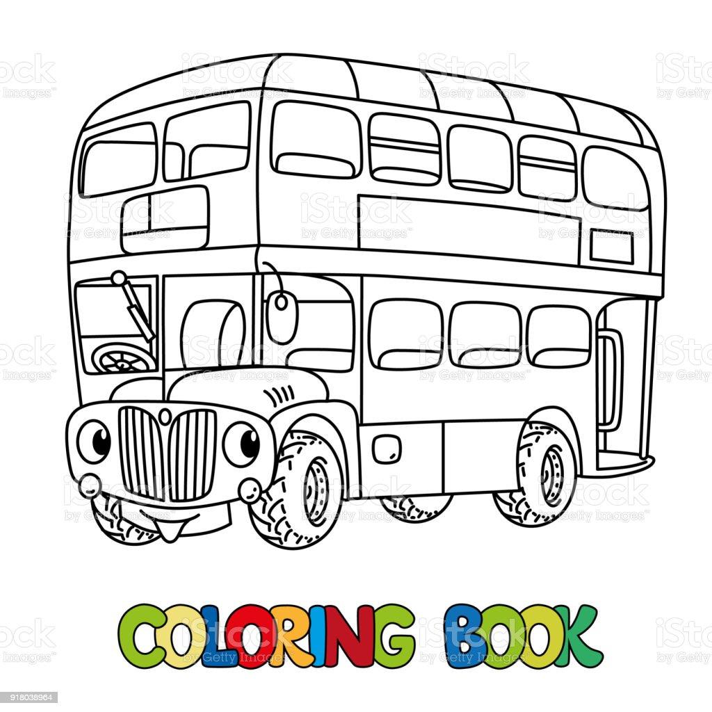 目に変な小さいロンドン バス塗り絵 お絵かきのベクターアート素材や
