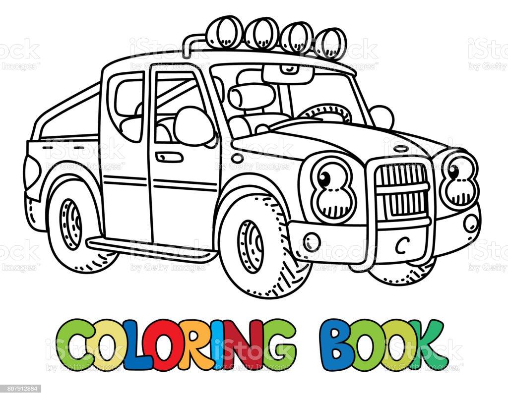 Coloriage Camionnette.Drole Petite Camionnette Avec Les Yeux Livre De Coloriage Vecteurs