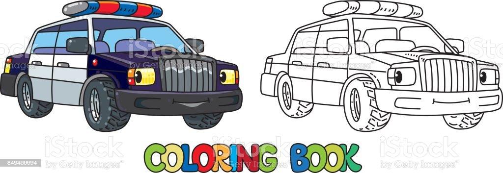 Komik Kucuk Polis Arabasi Gozleri Olan Boyama Kitabi Stok Vektor