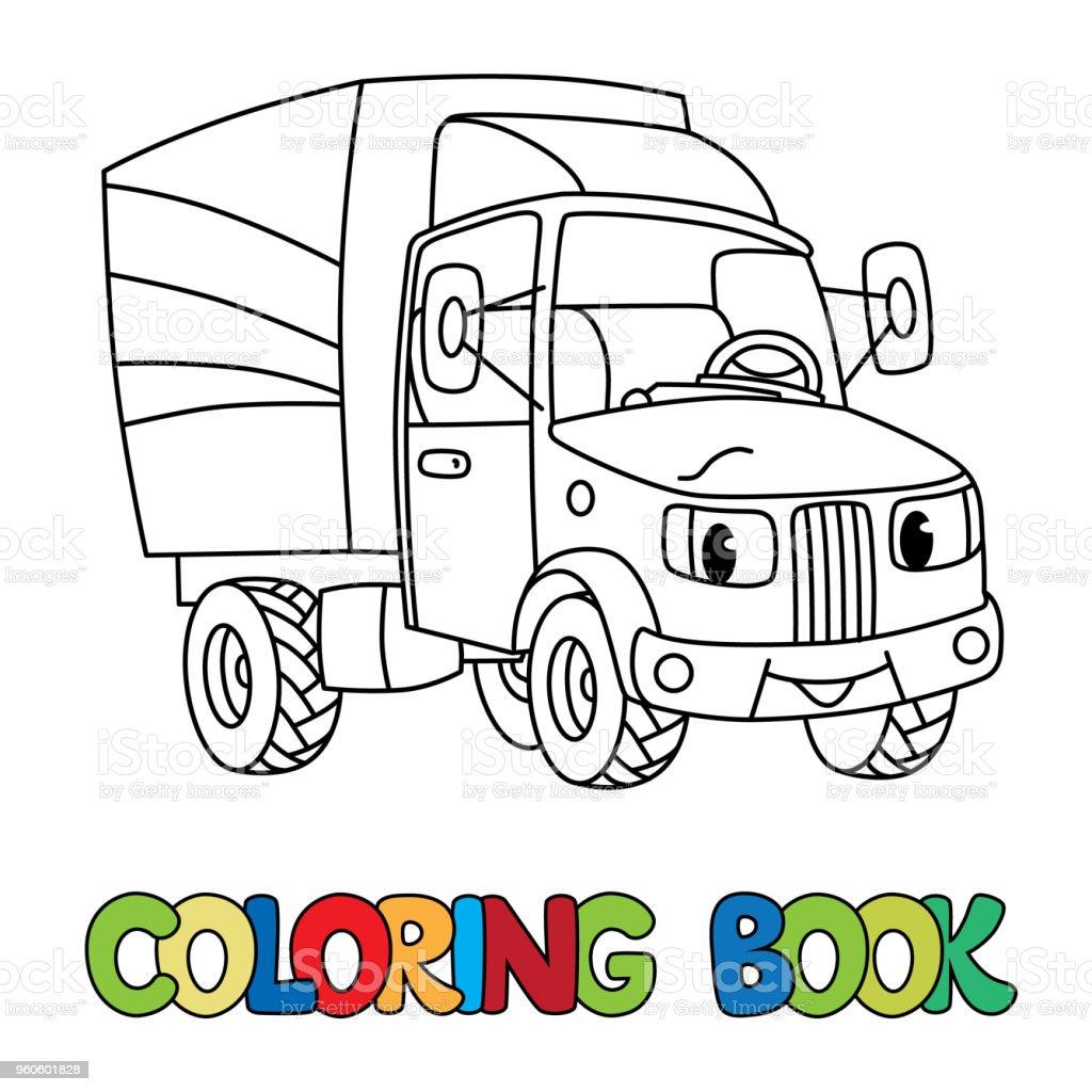 Komik Kucuk Posta Araba Gozleri Olan Boyama Kitabi Stok Vektor