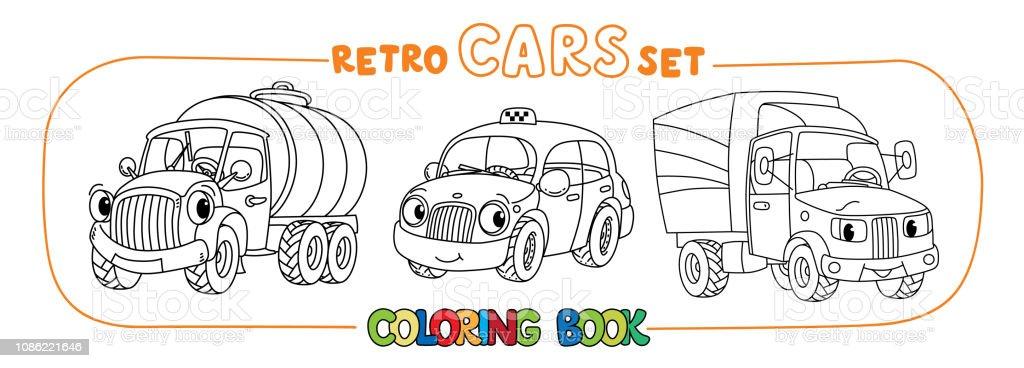 Gozler Boyama Kitap Seti Ile Komik Kucuk Retro Arabalar Stok