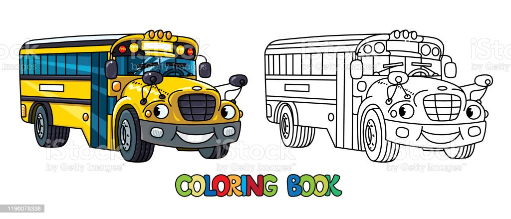 - Funny Small School Bus With Eyes Coloring Book Stock Illustration -  Download Image Now - IStock