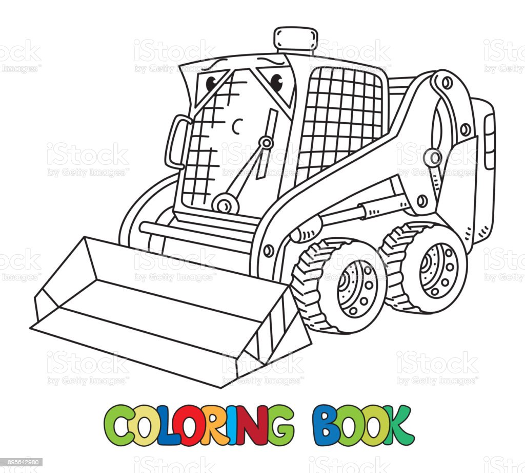 Funny small snowthrower with eyes vector art illustration