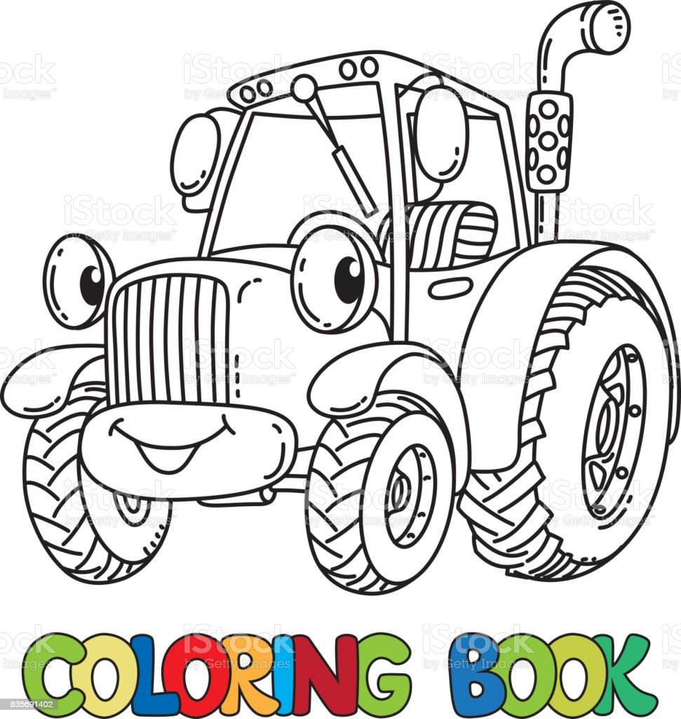 Gözleri Ile Komik Küçük Traktör Boyama Kitabı Stok Vektör Sanatı