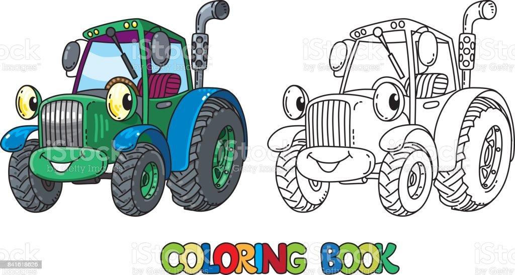 Gozleri Ile Komik Kucuk Traktor Boyama Kitabi Stok Vektor Sanati