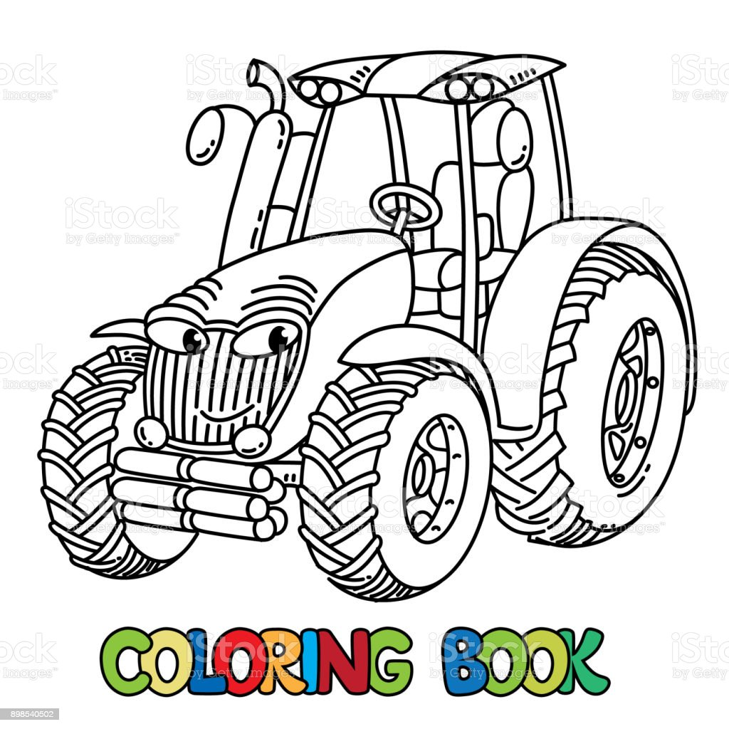Ilustración de Divertido Tractor Pequeño Con Los Ojos Libro Para ...