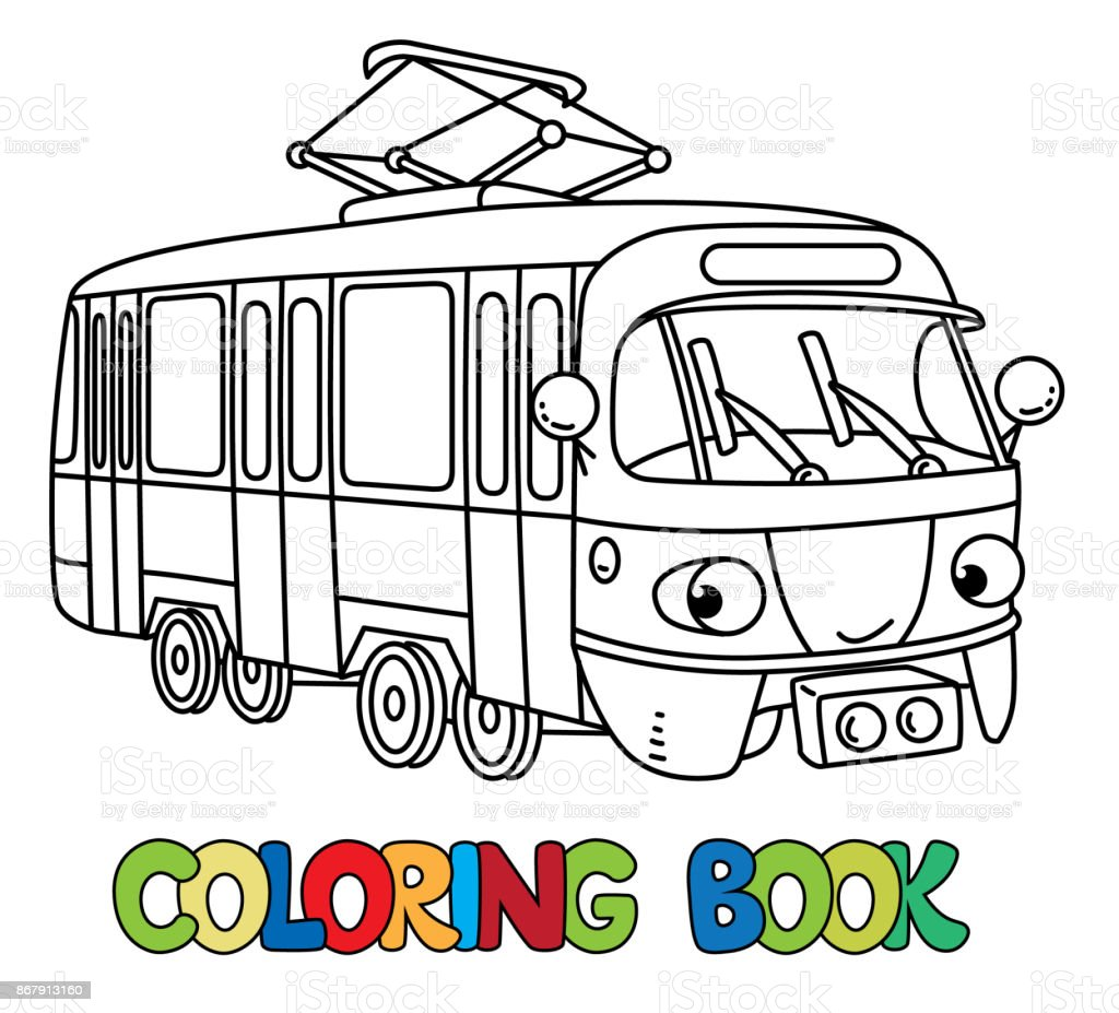 目で面白い小さな路面電車塗り絵 お絵かきのベクターアート