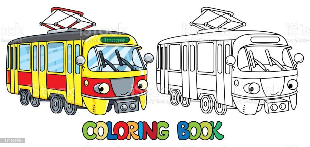 Ilustración de Divertido Tranvía Pequeño Con Los Ojos Libro Para ...