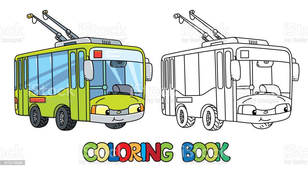 Komik Küçük Troleybüs Gözleri Olan Boyama Kitabı Stok Vektör Sanatı