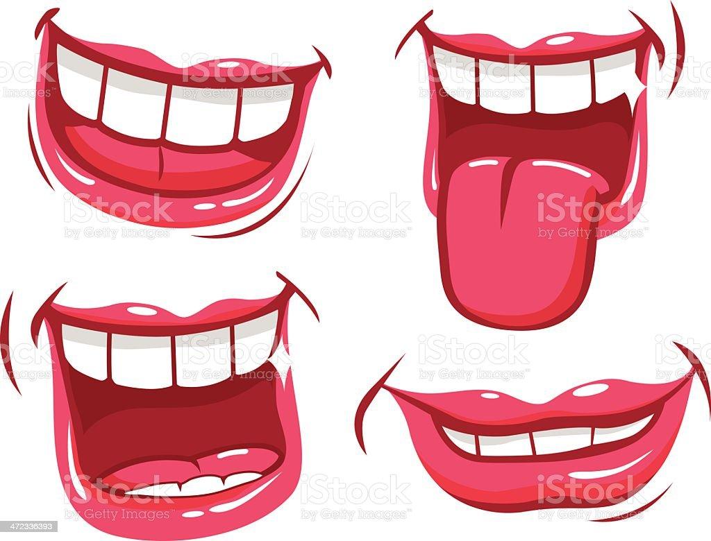 Funny smiles vector art illustration