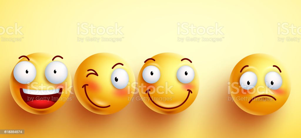 Funny smileys vector faces with happy smile with separated one ベクターアートイラスト
