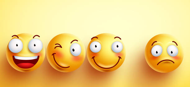Funny smileys vector faces with happy smile with separated one - Illustration vectorielle