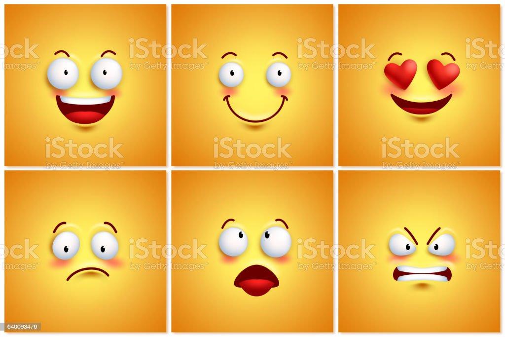 Funny smileys vector poster wallpaper backgrounds set