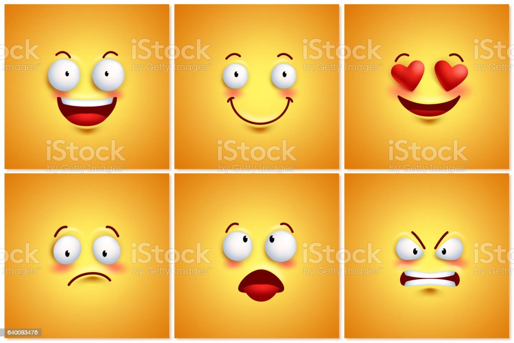 Funny smileys vector poster wallpaper backgrounds set - ilustración de arte vectorial