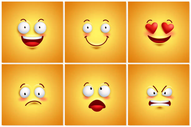 funny smileys vector poster wallpaper backgrounds set - happy emoji stock illustrations, clip art, cartoons, & icons