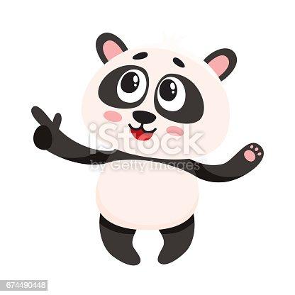 Ilustración de Sonriente Bebé Panda Personaje Divertido Apuntando A ...