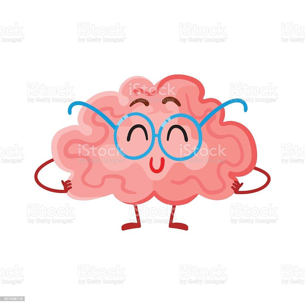 Funny smiling brain in round glasses, symbol of education funny smiling brain in round glasses symbol of education – cliparts vectoriels et plus d'images de admirer le paysage libre de droits