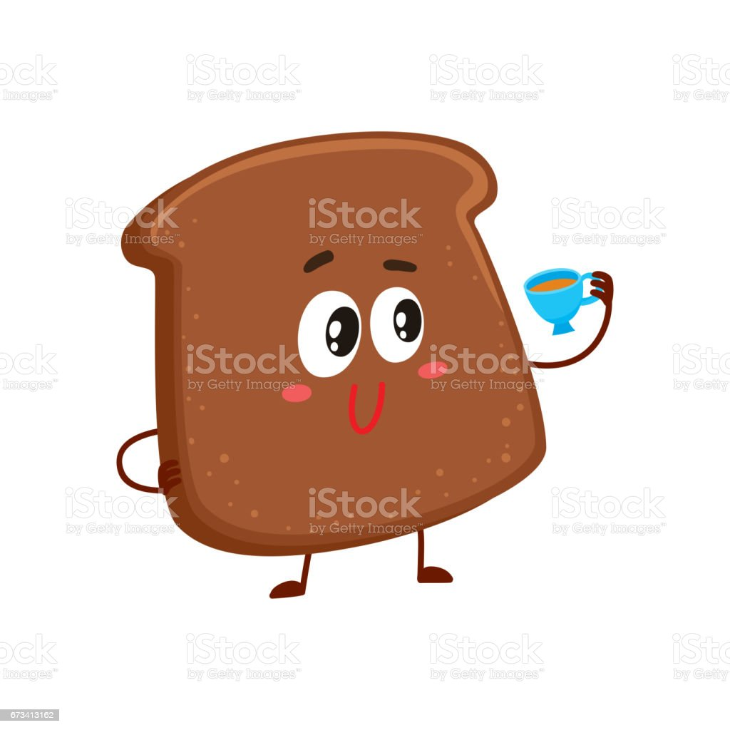 Funny smiling dark, brown bread slice character drinking tea vector art illustration