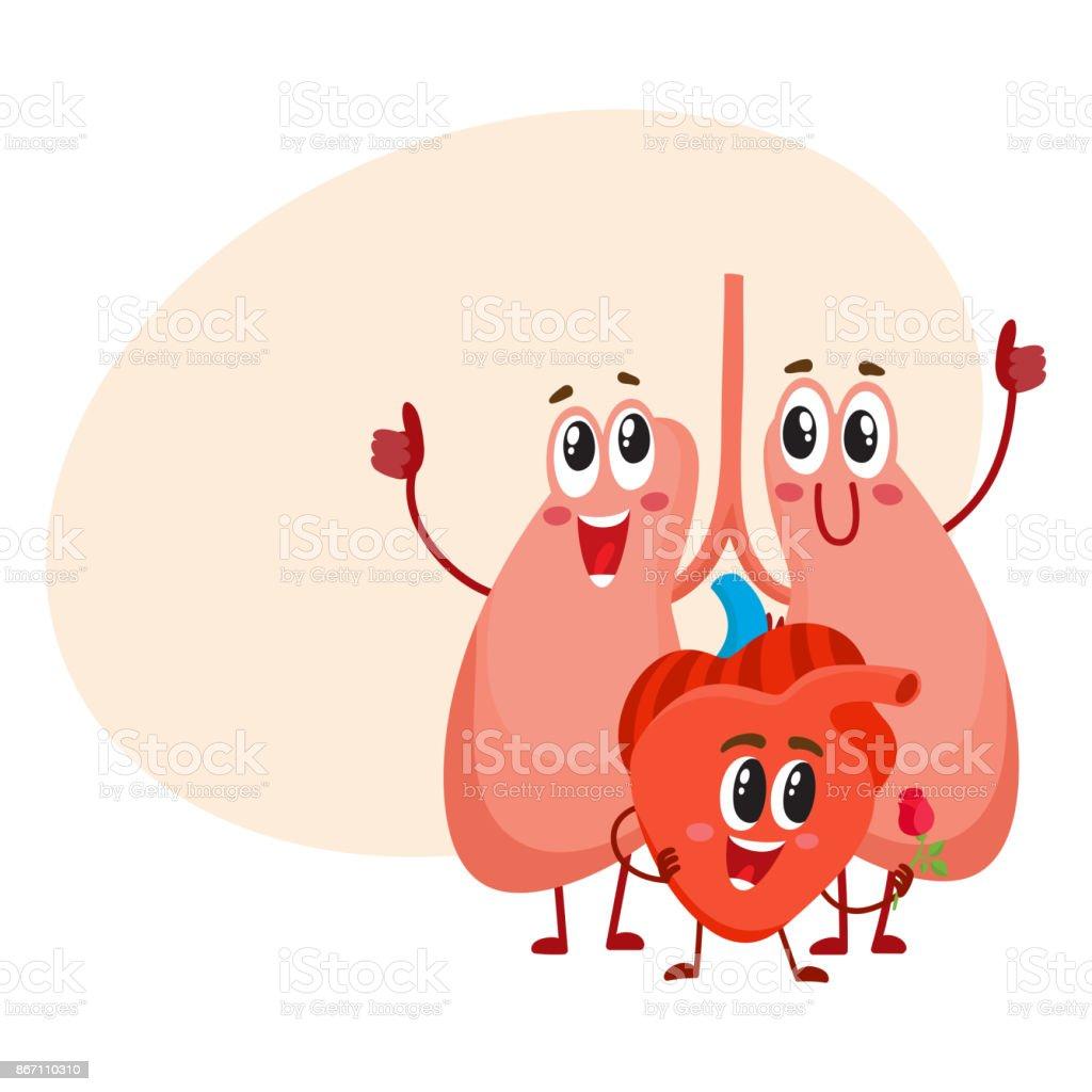 Lustig Lächelnd Menschliche Lunge Und Herz Zeichen Brust Innere ...