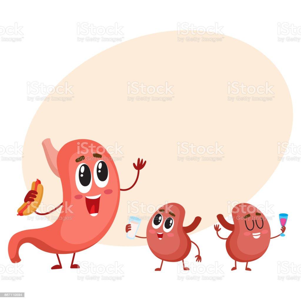 Lustig Lächelnden Menschlichen Magen Und Nieren Zeichen ...
