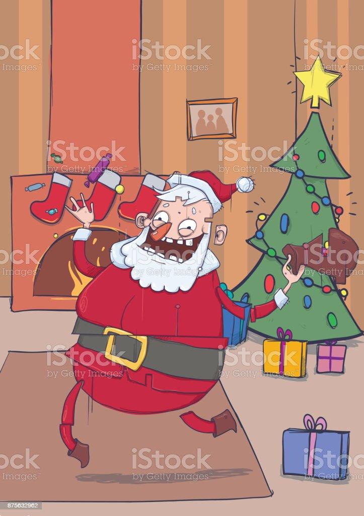 Lustige Lächelnden Weihnachtsmann Bringt Geschenke Und Süßigkeiten ...
